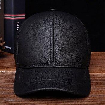 цена на HL130 2020 Men's genuine leather baseball cap hat brand new style spring brand new style winter Russian warm one fur caps hats