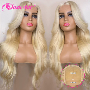 Brazilian Wig 4x4 Lace Closure Wig 613 Blonde Wig Body Wave Human Hair Wigs for Black Women 150% Density Jazz Star Hair Non-Remy