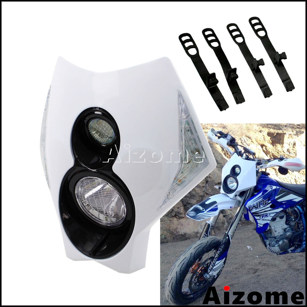 Supermoto Turn Signals Headlamp For Kawasaki Yamaha Honda KLX 250 CRF450 DRZ400 XT WR400F WR426F WR450F Dirt Bike LED Headlight