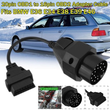 Car Extension cables Fits BMW 20 Pin Adapter 16pin OBD2 to 20pin OBD E36 E34 E38 E39 E46 Truck Cable adapter image