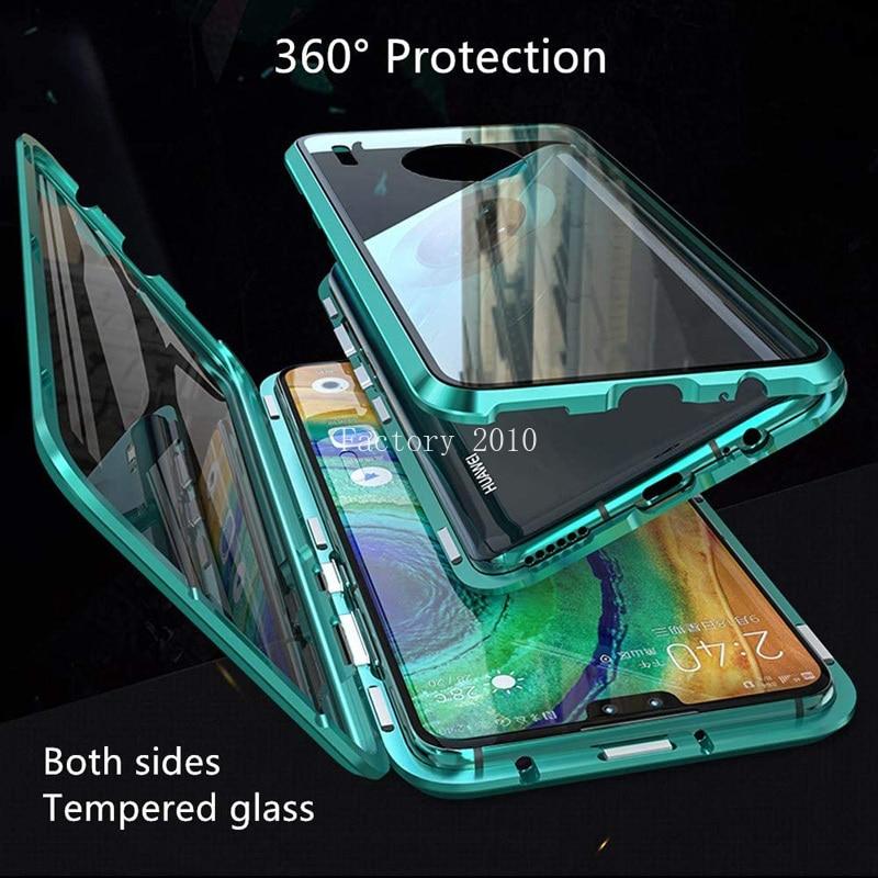 Магнитный поглощающий металлический каркас 9H чехол из закаленного стекла для Huawei P40 P30 P20 Mate 40 30 20 Pro Honor 30S 30 20 Pro 20i 10 9X 8X