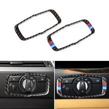 רכב סטיילינג סיבי פחמן פנים פנס מתג מסגרת כיסוי Trim עבור BMW 5 סדרת E60 E61 2004 2005 2006 2007 2008 2009 2010