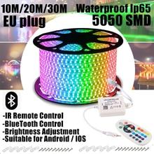 10M 20M 30M LED Strips Lights Control Adapter Bluetooth RGB 5050 SMD Tape Diode Waterproof Remote LEDS AC 220 240 DIY D4 EU Plug