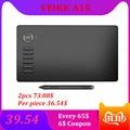 Veikk a15 10x6 Polegada tablet de desenho digital 0.9cm tablet gráfico profissional 8192 níveis almofada de escrita com caneta sem bateria