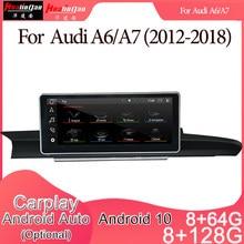 Automóvel estereofônico da navegação do jogador gps do rádio de dvd dos multimédios do carro de android 10 para audi a6/a7 (2012-2018) 2din