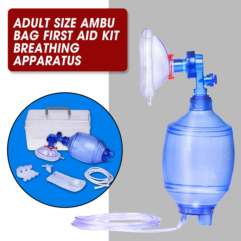 Manual Resuscitator Adult Size PVC  Ambu Bag Oxygen Tube First Aid Kit Breathing Apparatus