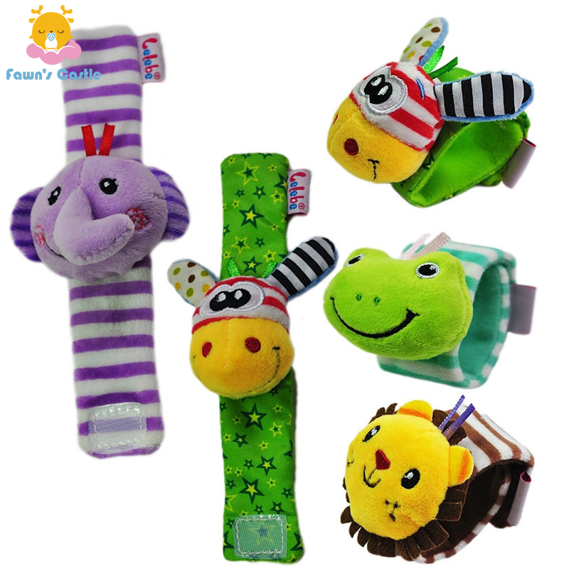 Animal Cute Cartoon Baby Rattles Infant Hand Bell Baby Rattles Toys 0-3 Years Old Baby Plush Wrist Rattles Baby Toy Hand Wrist S