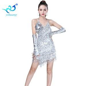 Image 2 - Shining Sequin ชุดเต้นรำละตินผู้หญิง Fringe พู่เต้นรำประสิทธิภาพเครื่องแต่งกาย Tango ชุด танцевальные платья