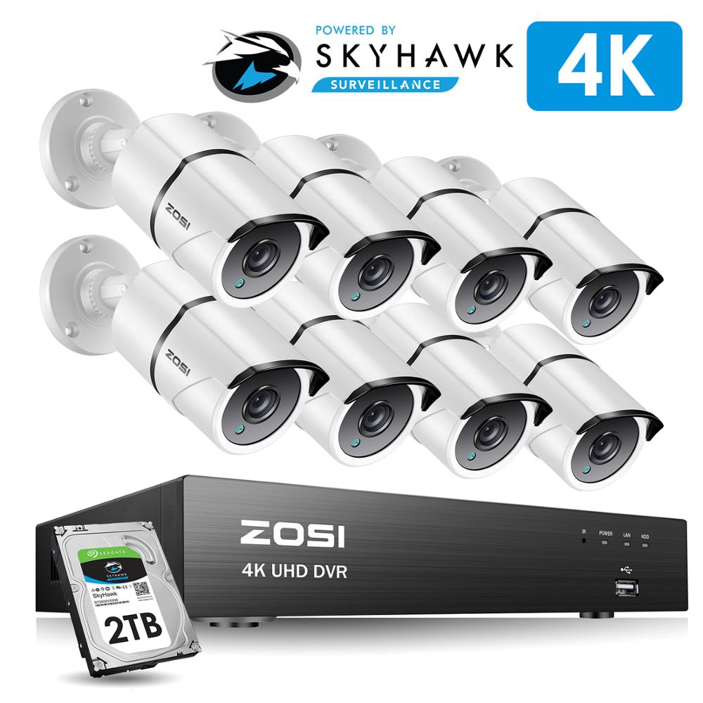 ZOSI 4K 8CH Ultra HD CCTV Camera System H 265  DVR Kit with 2TB HDD 8PCS 8MP TVI Outdoor Home Video Security Surveillance System