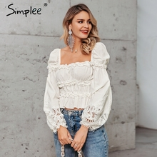 Simplee Vintage victorian style cotton blouse shirt Lantern sleeve ruffled hollow out tops Lace up luxurious women short blouses