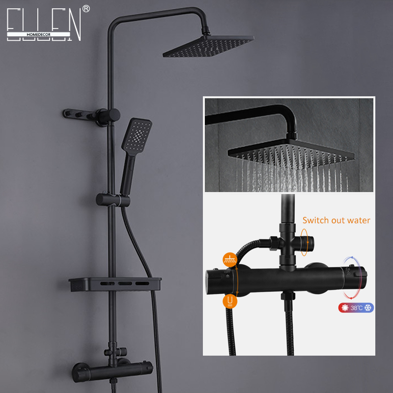 Bath Shower Faucets Thermostatic With Sliding Bar Hot Cold Water Shower Sets Wall Tap Mix Black Rainfall Shower EL3906