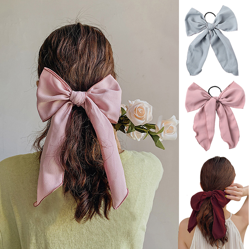 Simple Solid Color Hair Bows Rope Ties For Women Girls Cute Large Bowknot Hair Scrunchies Rubber Band Fashion Hair Acccessories