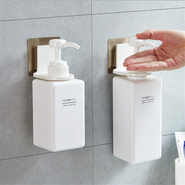 Wall Plastic Shower Gel Bottle Rack Suction Wall Hook Multi function Bathroom Shower Gel Hook Kitchen Hand Sanitizer Holder SN1
