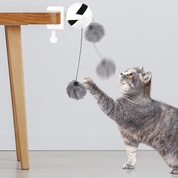 Juguete interactivo para gatos, divertida cinta de gato eléctrica de movimiento, bola que cuelga del escritorio yo-yo, bola que gira, bola que gira para gatos, juguete para mascotas