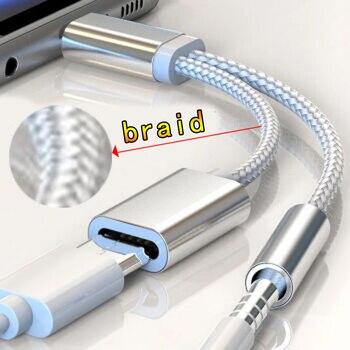 Tressé 2 en 1 Type C à 3.5 Mm chargeur casque Audio Jack USB C câble type-c à 3.5mm adaptateur de connecteur pour téléphone portable