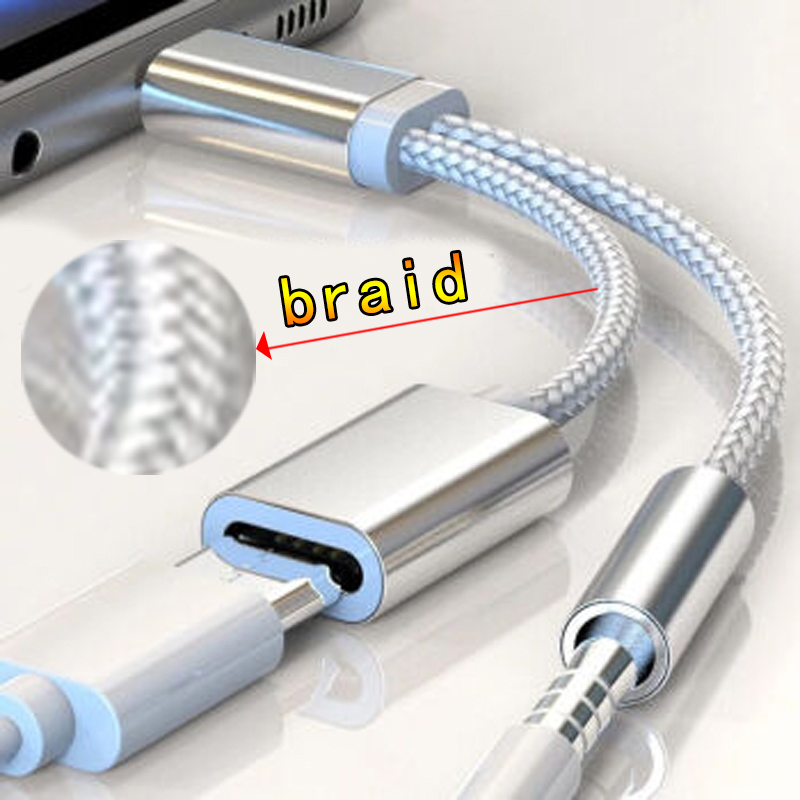 Braided 2 In 1 Type C To 3.5 Mm Charger Headphone Audio Jack USB C Cable Type-C To 3.5mm Connector Adapter For Mobile Phone