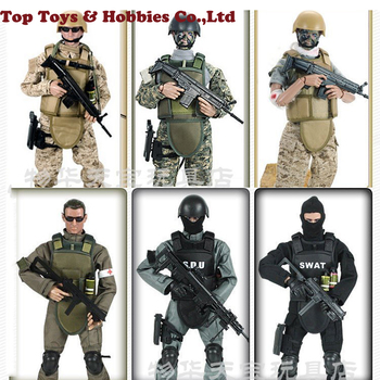 In stock Full Set doll 1/6 action figure military SWAT soldier Uniform Military toy Soldiers set military figure with Box 1 6 scale movable 3 style 12 swat black uniform military army combat game toys soldier set action figure model toys