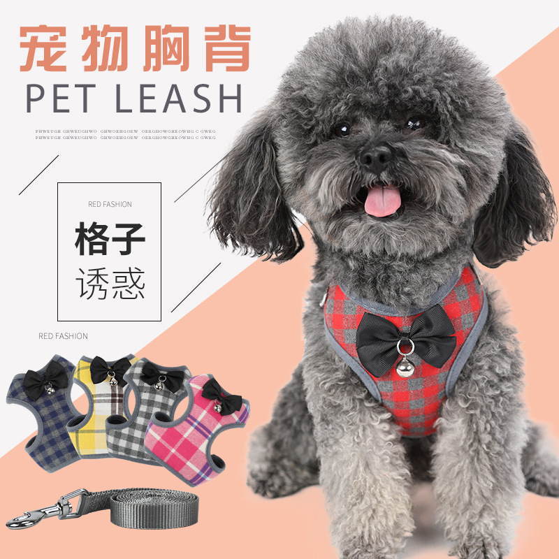 Pet Traction Rope Small Dogs Vest Style Bow Plaid Evening Gown Adjustable Hand Holding Rope