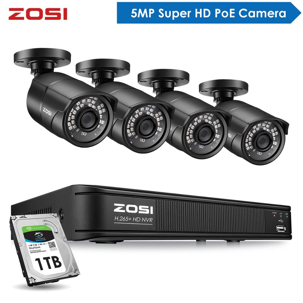 ZOSI 5MP CCTV Video Security Outdoor Nightvision Waterproof IP Camera Control Surveillance System POE H.265 8CH NVR Kit HDD