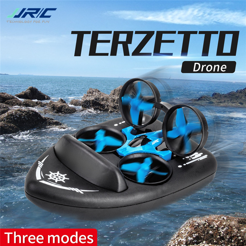 Upgraded H36 JJRC H36F Terzetto 1/20 2.4G 3 In 1 Blue RC Vehicle Flying Drone Land Driving Boat Quadcopter RTR Model VS E016F