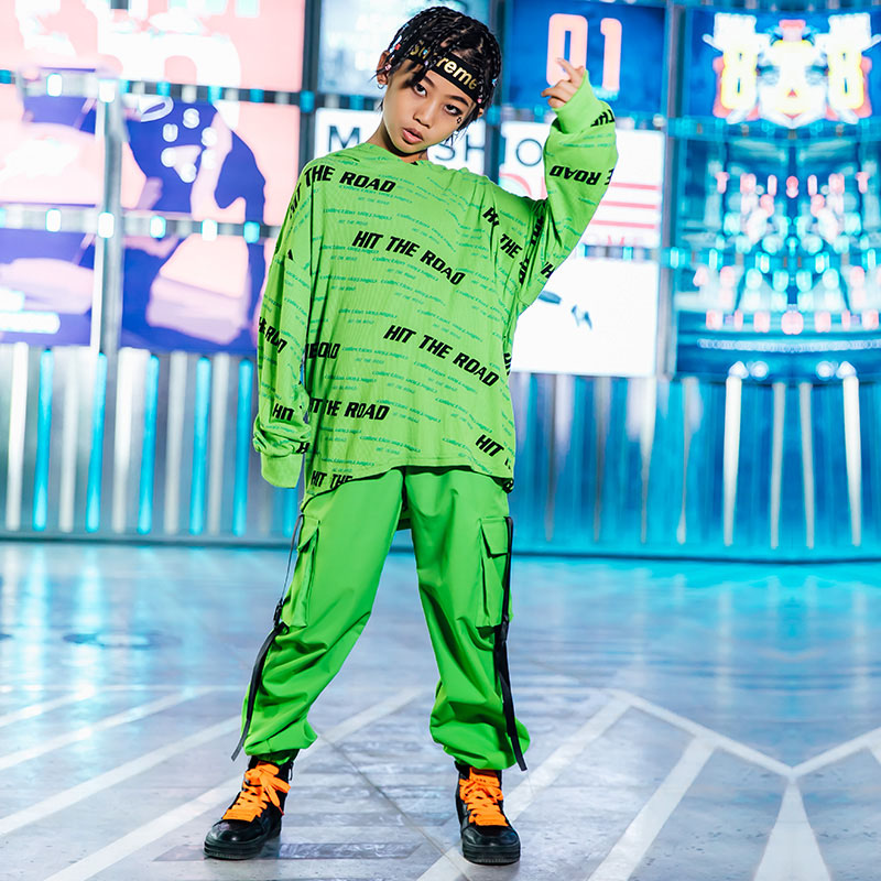Green Jazz Dance Costumes Kids Loose Hip Hop Performance Clothing Long Sleeve Rave Outfit Boys Street Dance Practice Wear DC3287
