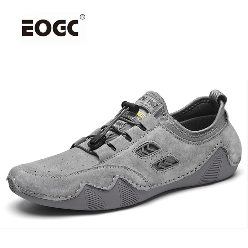 Comfortable Men Shoes Soft Genuine Leather Fashion Sneakers High Quality Casual Rubber Round Sole Shoes Men