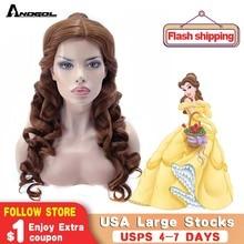 Anogol belle beleza ea besta natural longo corpo onda clipe rabo de cavalo marrom princesa sintético cosplay peruca para festa de halloween
