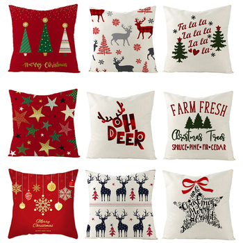 Christmas Home Cushion Cover 45*45CM Pillowcase Sofa Cushions Pillow Cases Cotton Pillow Covers Christmas Decorations For Home hot sale merry christmas pillow case square pillow cases new year cartoon pillow covers size 45 45cm