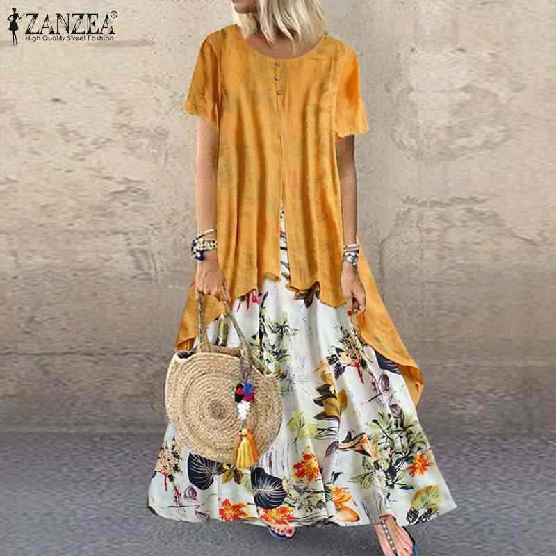 فستان نسائي صيفي قصير الأكمام من ZANZEA فستان نسائي عتيق مطبوع عليه زهور فستان طويل غير رسمي للحفلات بتصميم عتيق فساتين نسائية