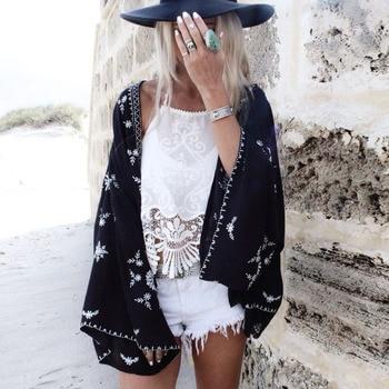 Blusa de gasa de talla grande pareos de playa cubierta de la chaqueta de verano de 2021 manga larga de murciélago negro impresión Kimono boho chic camisas