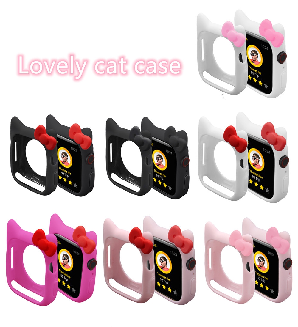 Serilabee KIT TY CAT CASE For Apple Watch 4 5/3/2/1 40MM 44MM Lovely Cute Protect Silicone Cases For Iwatch Series 4 5/3/2/1