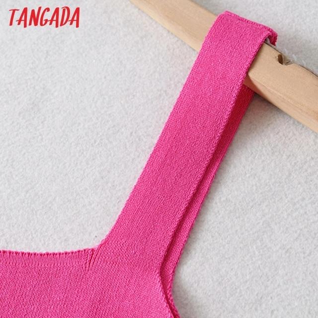 Tangada Fashion Women Solid Elegant Purple Short Knit Dress Sleeveless 2021 Summer Ladies Dress AI57 5