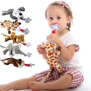 Presilha chupeta bebê menino menina, grande clipe de chupeta do bebê de pelúcia brinquedos animais chupeta titular (não incluir chupeta) 0-1 ano