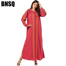BNSQ Plus Size Maxi Dresses for Women Casual Ethnic Geometric Embroidery Long Dr
