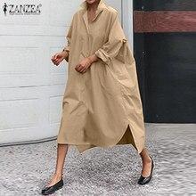 2021 outono baggy sólida camisa vestido zanzea elegante algodão vestido de verão feminino casual manga longa trabalho vestidos feminino robe plus size