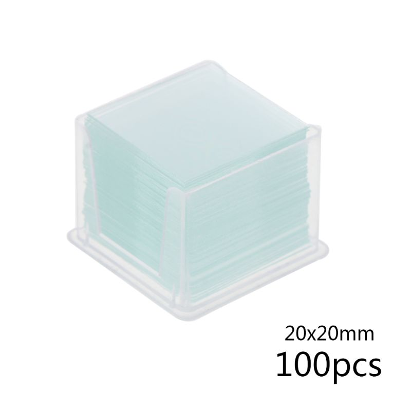 100 Pcs Transparent Square Glass Slides Coverslips Coverslides For Microscope Optical Instrument G8TB