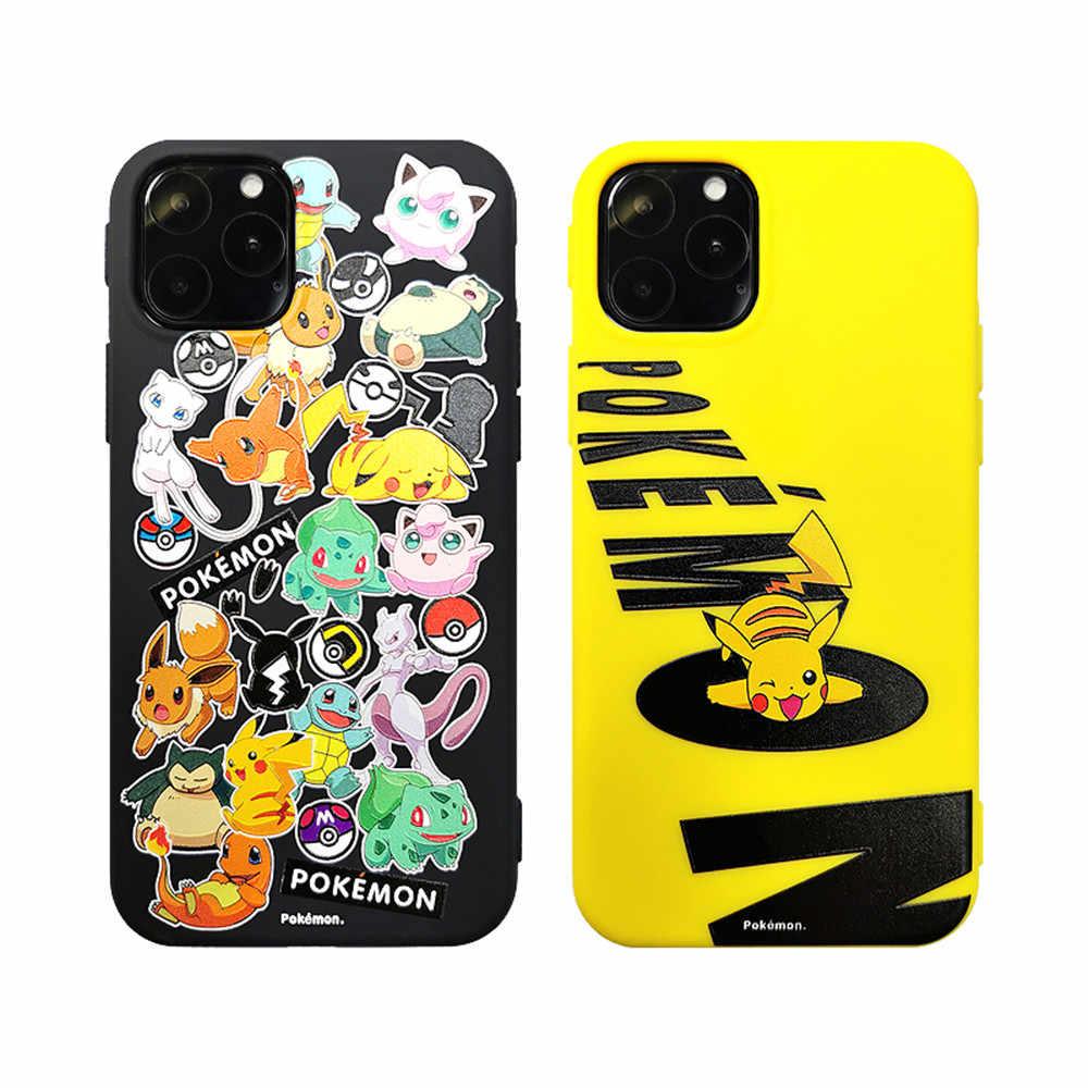 Hitam & Kuning Pikachu Silikon TPU Kembali Pas Kasus untuk iPhone 11 Pro Max X XS Max soft Cover UNTUK iPhone XR 6 6S 7 Plus Case