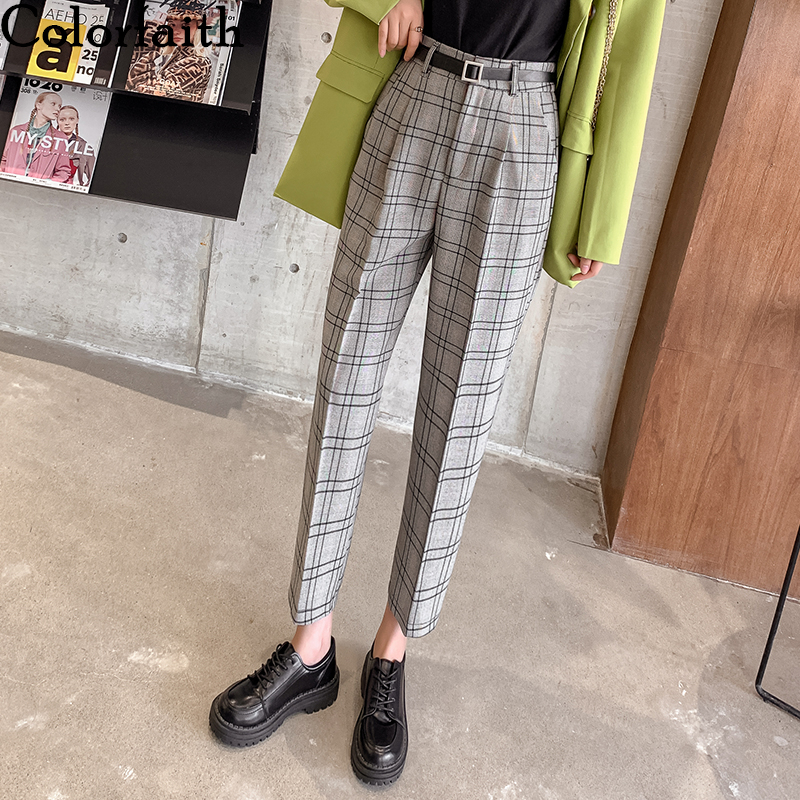 Colorfaith New 2019 Autumn Winter Women Pencil Pant Plaid High Waist Pocket Korean Style Casual Fashion Ankle-Length Pants P7232