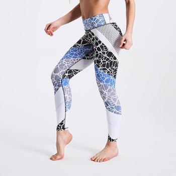 Qickitout 12% Spandex High Waist Digital Printed Fitness Leggings Push Up Sport GYM Leggings Women 24
