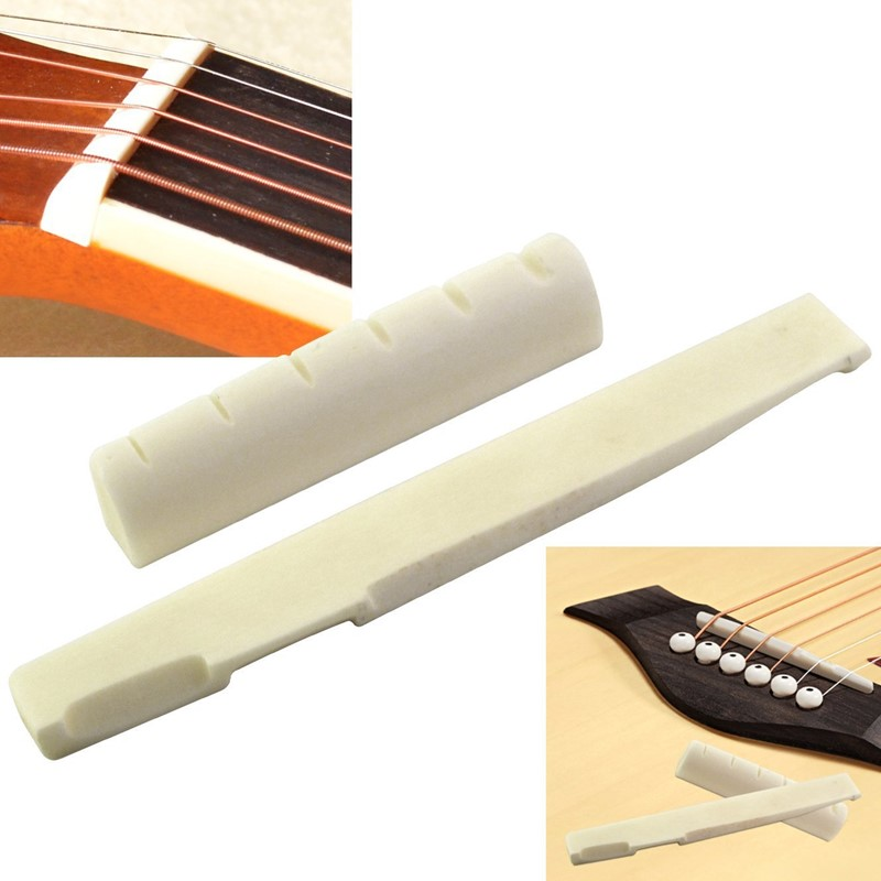 2PCS White Guitar Part Classical 6 String Guitar Bone Bridge Saddle And Nut Ivory Set For Acoustic Guitar Replacement Spare Part
