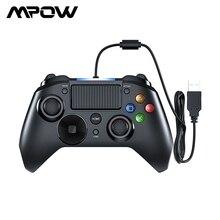 Mpow gamepads com fio, luz led, controle para gamepads, usb, com entrada para gatilho e gamepads para ps4/ps3/tv win/android