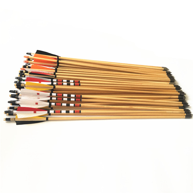 6/12pcs Archery Hunting Wooden Arrows Longbow  Lenght  32inches 5'' Turkey  Feather OD 8.5mm Wooden Shaft  Shooting