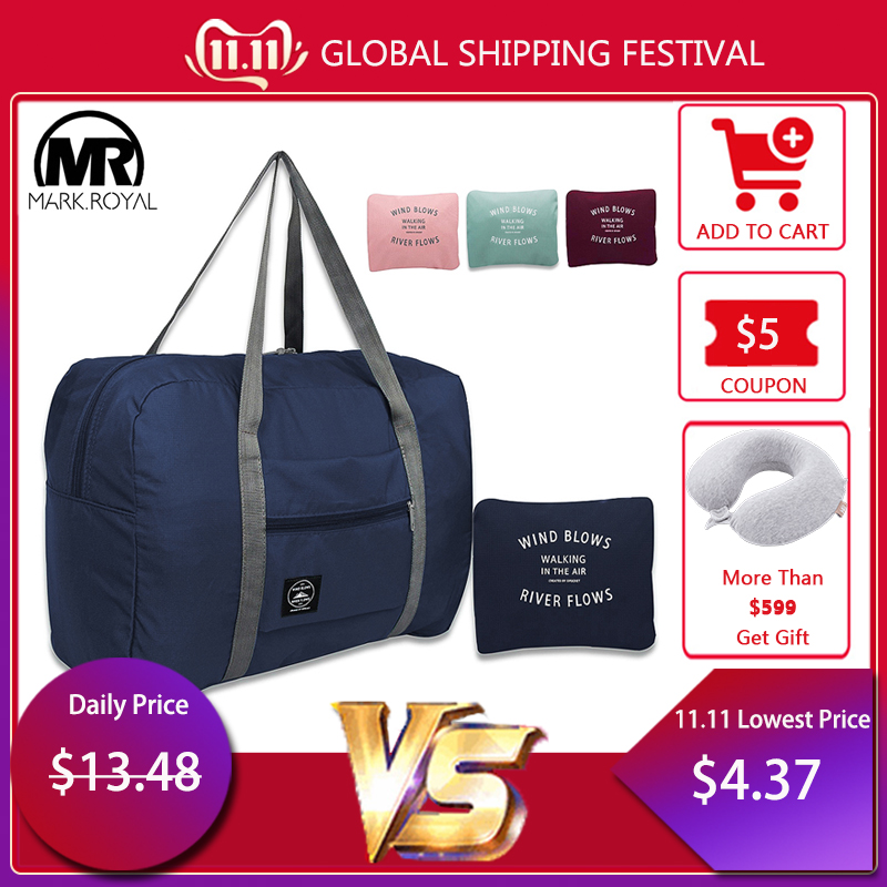 MARKROYAL New Folding Travel Bag Nylon Women Travel Bags Large Capacity Hand Luggage Tote Duffel Set Overnight For Lady & Men