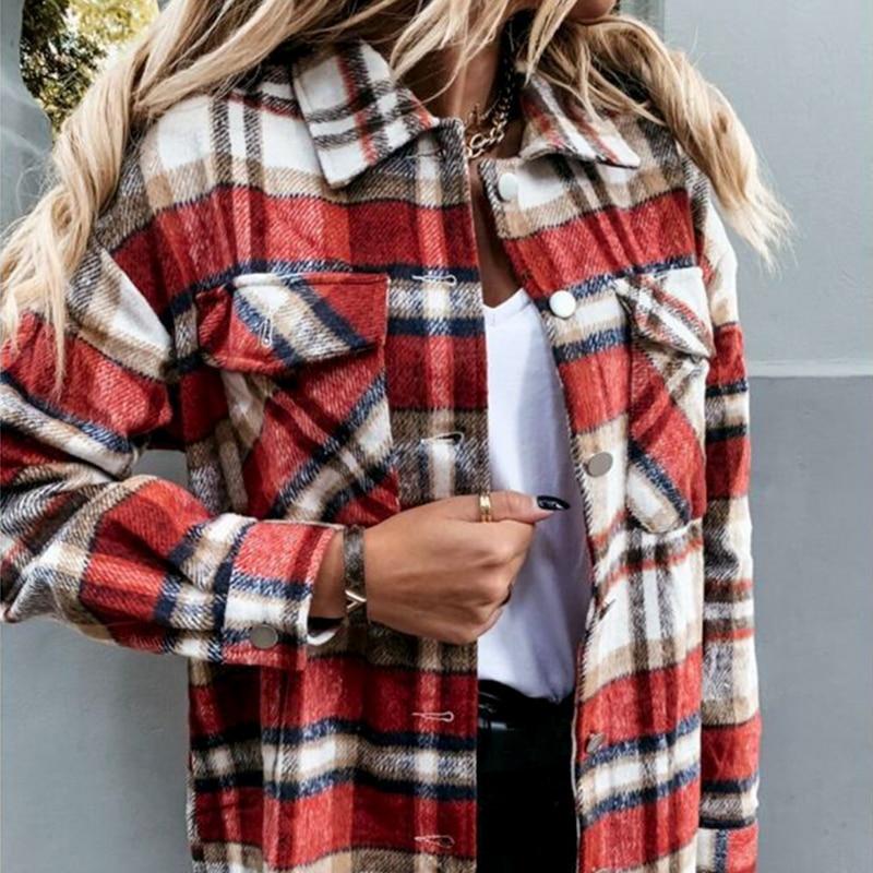 Повседневная зимняя женская клетчатая теплая рубашка на пуговицах 1