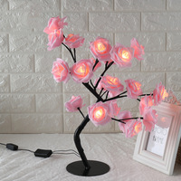 24LED White Pink Rose Flower Bedside Bedroom Night Light Table Lamp Home Decor Simulation Tree Christmas Wedding Party