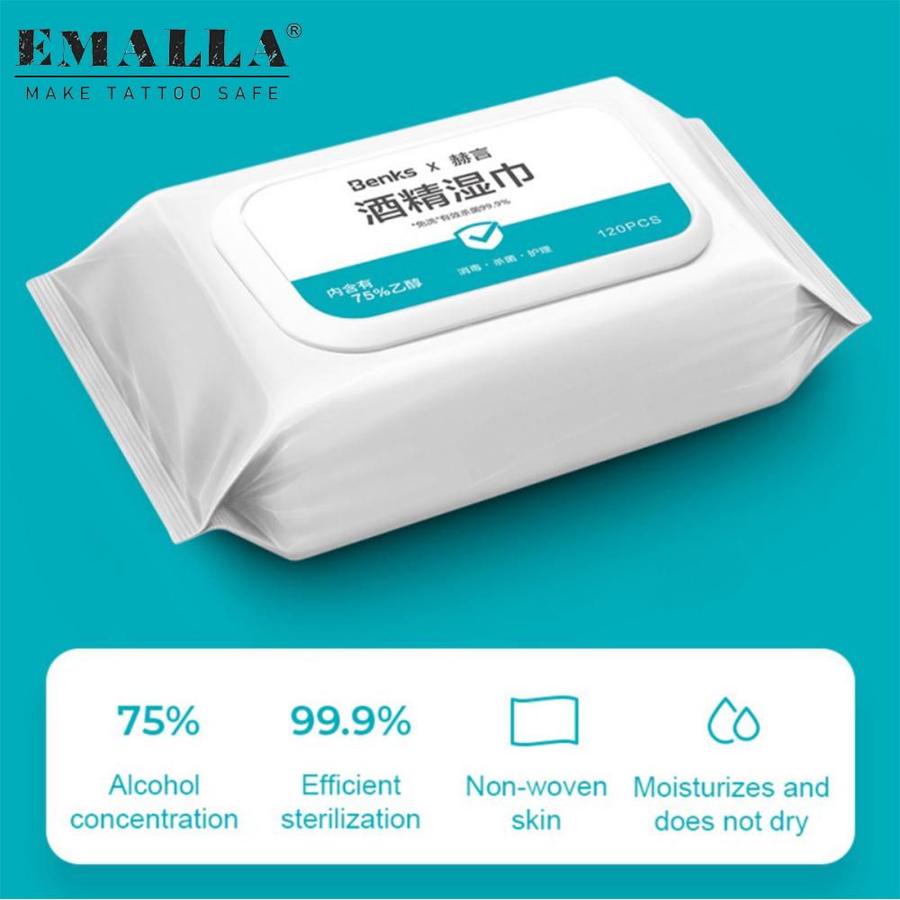 120PCS Alcohol Wipes Skin Cleaning Portable Hand Towel Swabs Pads Wipes Cleaning Disinfection Wipe Tattoo Supplies Free Shipping