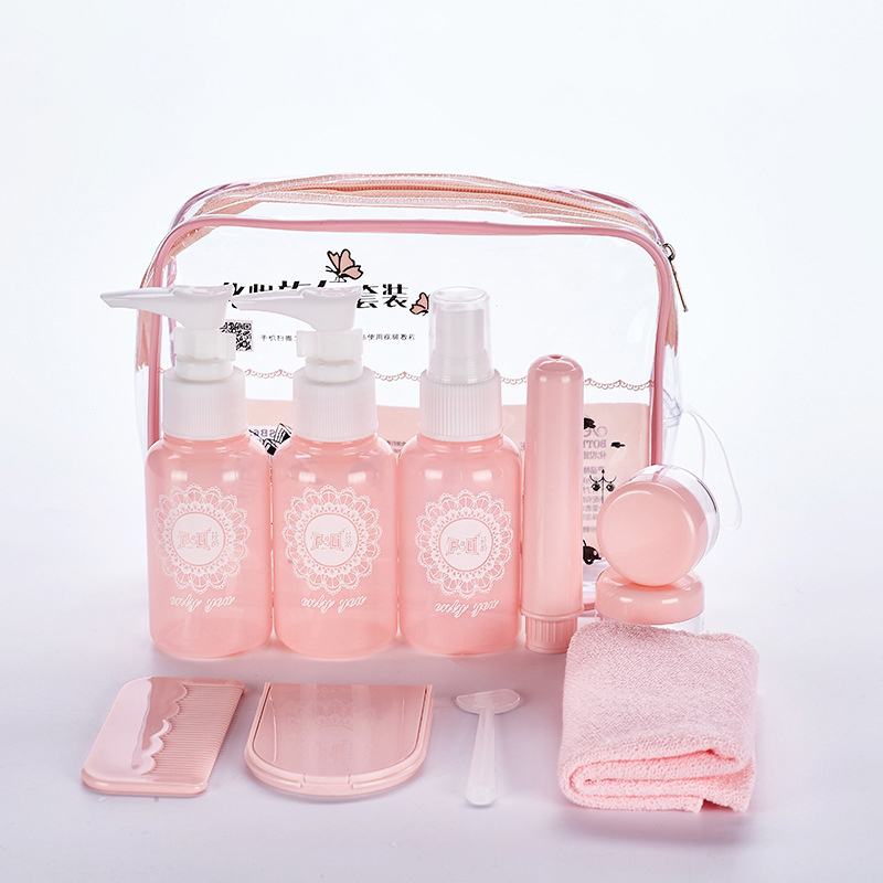 Travel Supplies Portable Sub-bottle Set Cream Jar Spray Bottle Refillable Dispensing Tool Cream Lotion Cosmetic Container