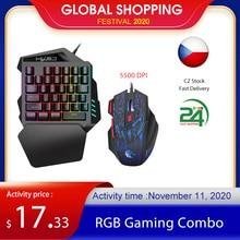 HXSJ J50 clavier ergonomique et souris Combo coloré rétro éclairage une main filaire claviers de jeu 5500DPI PC Gamer ensemble pour LOL CS
