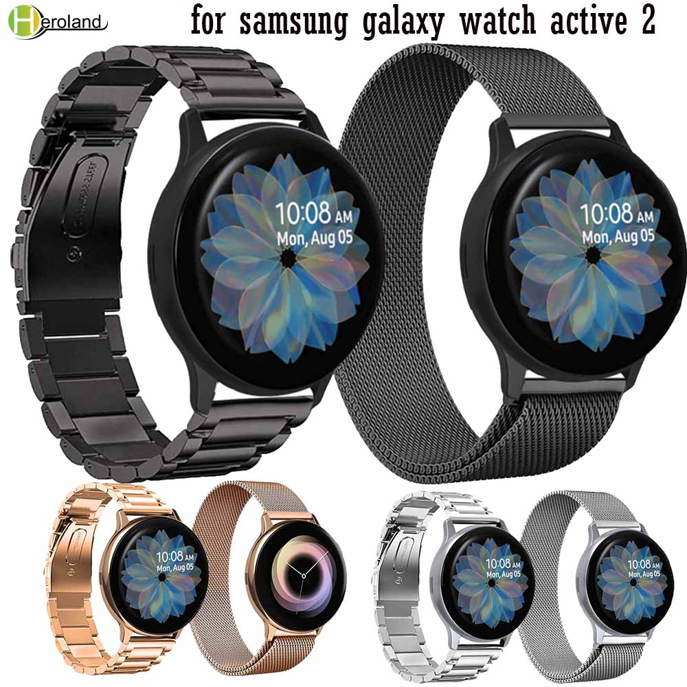 Watch Strap Band Milanese Loop For Samsung Galaxy Watch Active 2 40mm 44mm Bracelet Stainless Steel Quick Release Watch Strap