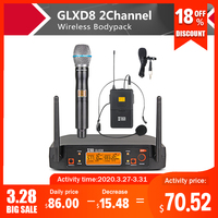 XTUGA GLXD8 Portable UHF Microphone System with carry case 1Boydpack1Handheld MIC BOX Cordless Wireless for Stage Church wedding